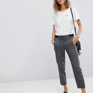 ASOS Esprit Soft Tie Waist Pants in Gray Check 38